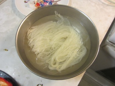 Rice noodles soaked in boiling water