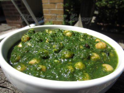 Chickpeas in Spinach Gravy 1